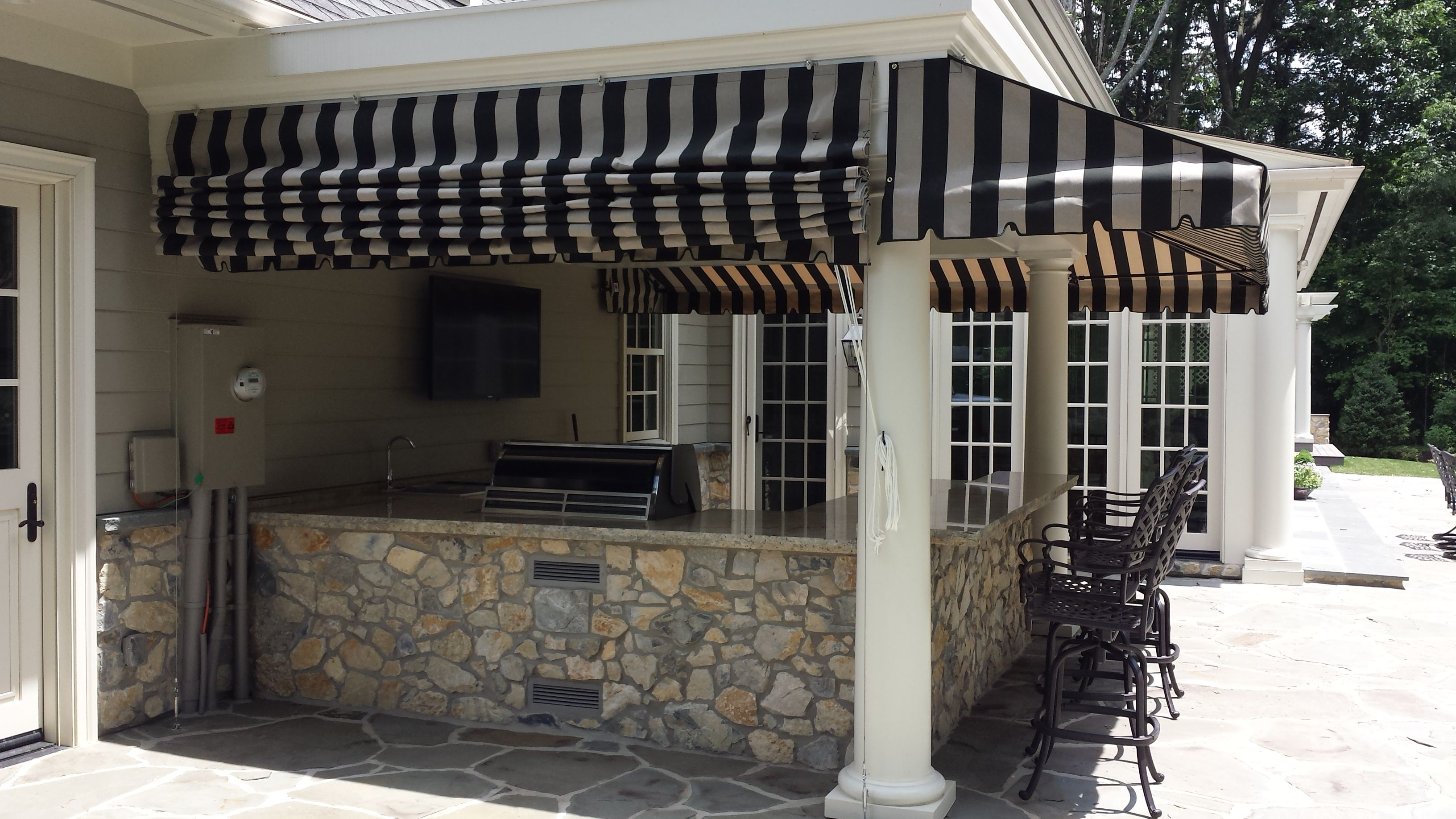 Enhance The Usability Of Your Porch By Installing Custom Fabric Awnings Awnings Create An Extra Overhang Adding To Your Usab Porch Awning Awning Fabric Awning