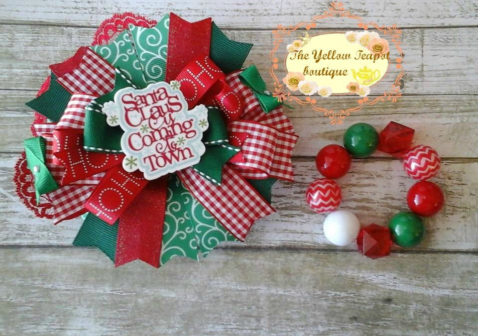 Santa Claus is Coming to Town Bow + bracelet by YellowTeapotBoutique on Etsy