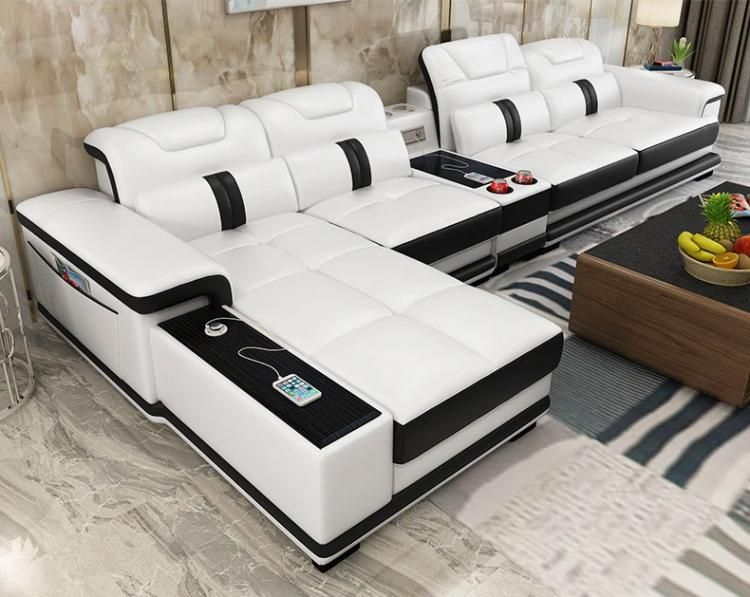 Ultimate Couch Giant Leather Sectional With Integrated Massage Chair And Speakers Living Room Sofa Set Living Room Furniture Styles Living Room Leather
