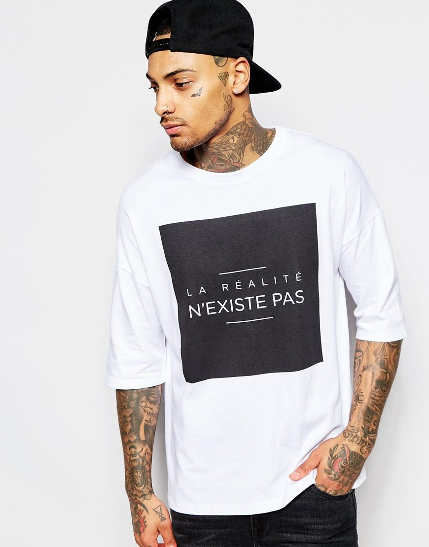 ASOS Oversized T-Shirt With Typographic Print And Wide Neck Trim at asos.com