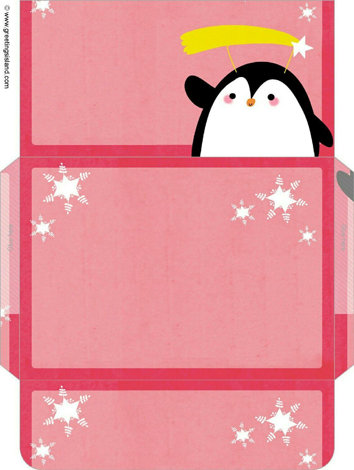 Sobre rosa con pingüino.