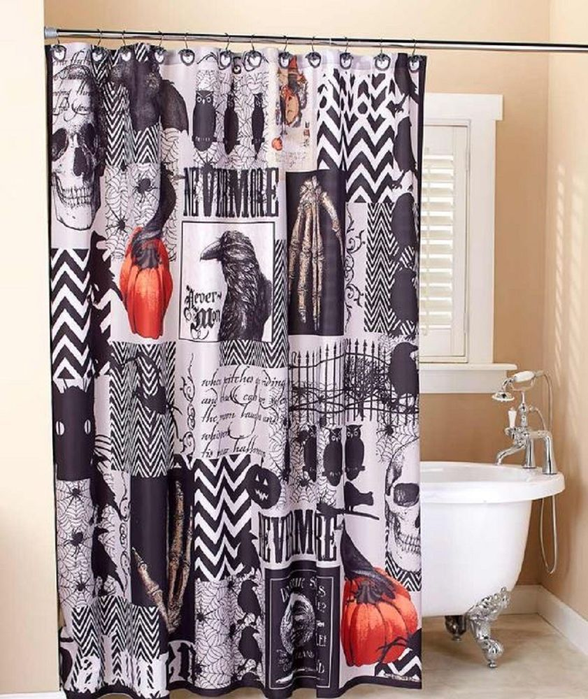Nevermore Halloween Shower Curtain Set Bath Accessories Bats Ravens Skull Decor Unbranded Holiday