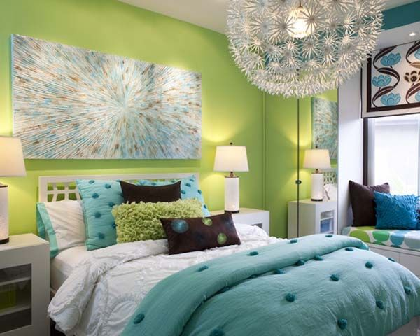 Lime Bedroom Combine With Navy Blue Decoration