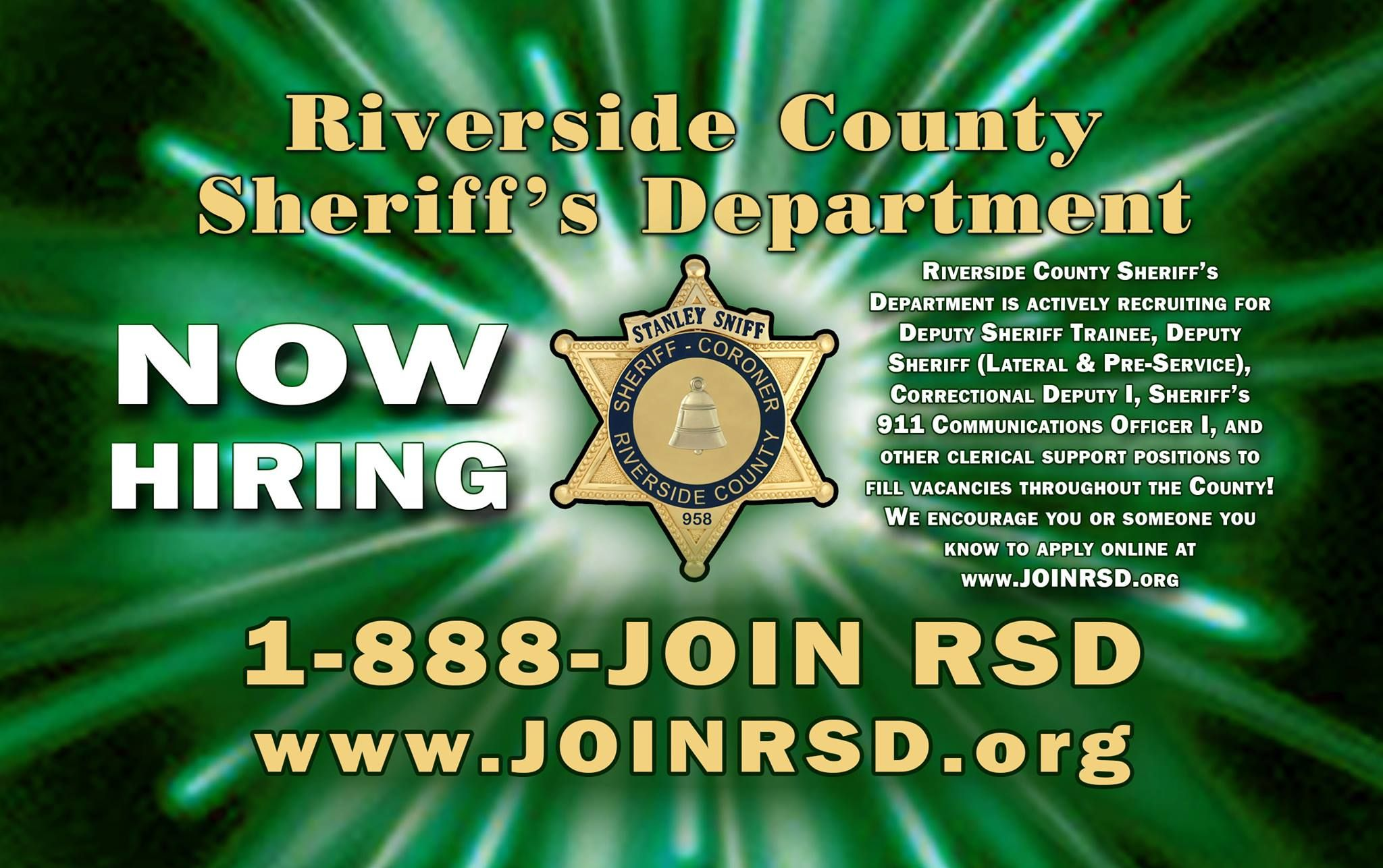 County of riverside sheriffs department is now hiring