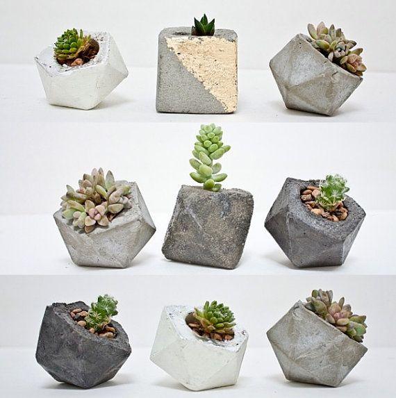 Geometric Concrete Planters Modern Concrete Planter Cement Planter set of 3 Icosahedron Succulent Planter Gift for Mom Pot