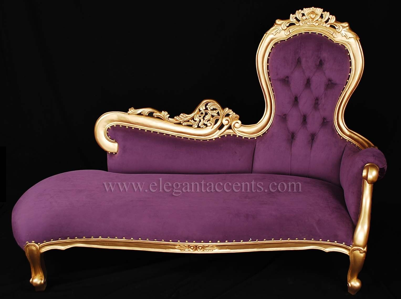 French Rose Sofa Chaise Lounge Gold Finish With Purple