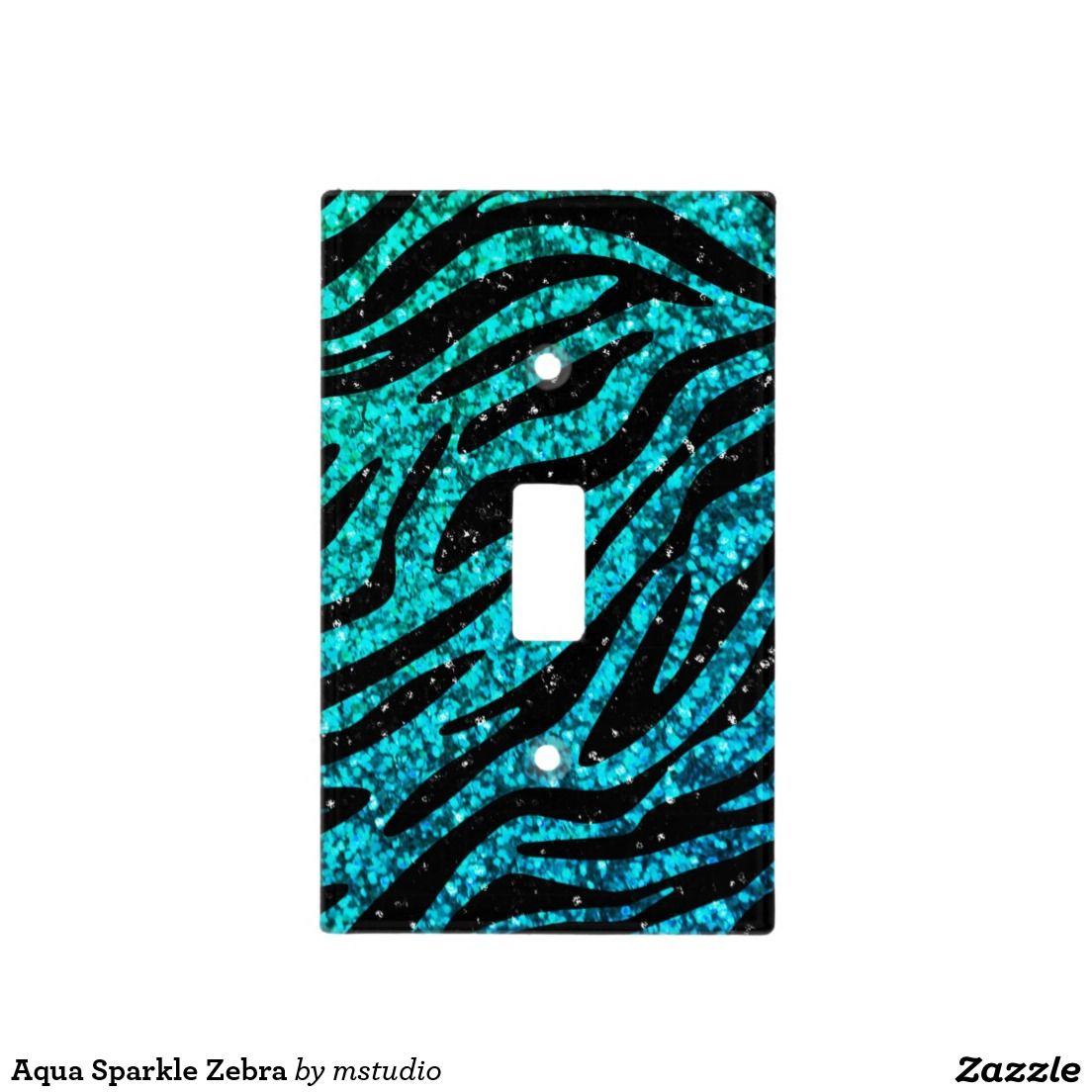 Aqua Sparkle Zebra Light Switch Cover