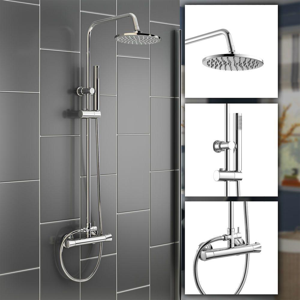 7 Modern Bar Mixer Thermostatic Shower Valve Bathroom Set Round