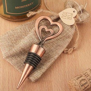 Copper Heart Wine Bottle Stopper Wedding Favors Double Heart Wine