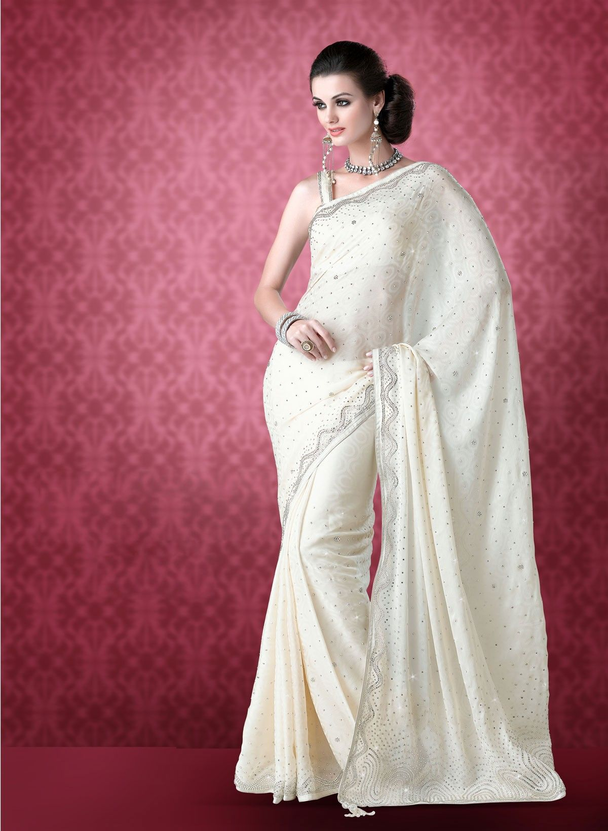 Buy White Faux Crepe Wedding Saree (CODE:BLR0200050) online from ...