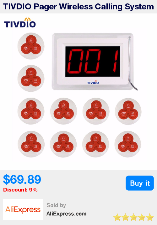 Tivdio Pager Wireless Calling System Restaurant Paging System 1 Host Display 10 Table Bells Call Button Customer Service F940 Pagers Red Led Lights Call System