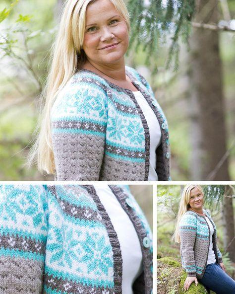 e6ba4af7 Dame med strikket jakke med mønster | Strikkeoppskrifter ...