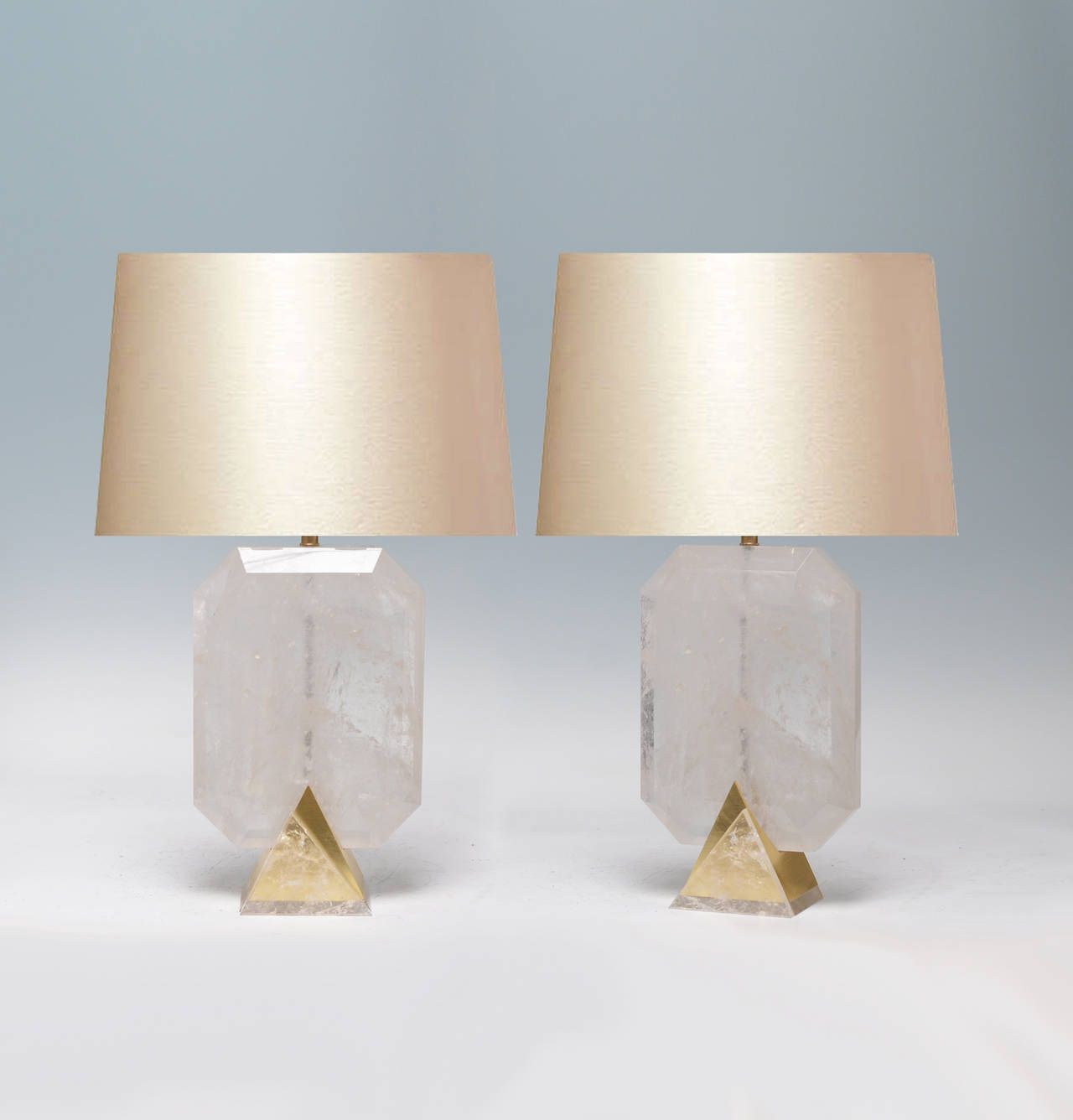 Pair of Fine Carved Rock Crystal, Quartz Lamps | From a unique collection of antique and modern table lamps at https://www.1stdibs.com/furniture/lighting/table-lamps/
