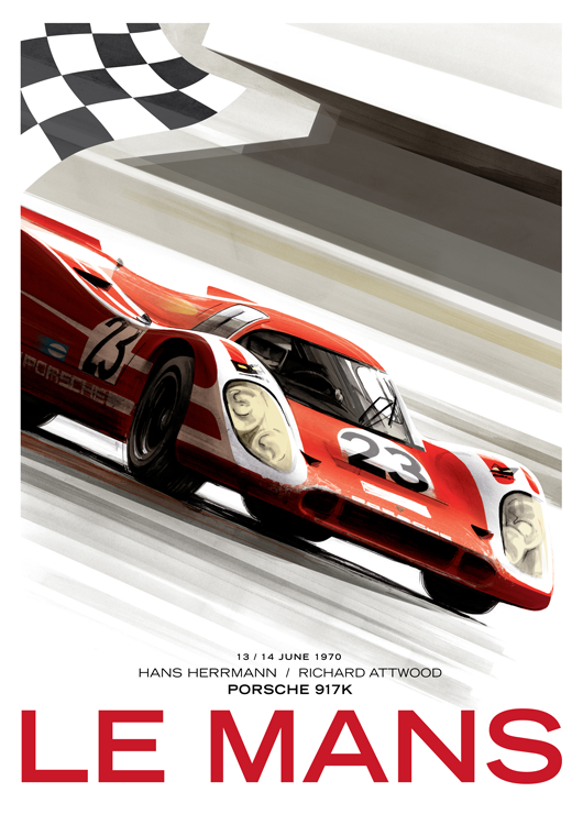 le mans porsche 917k by guy allen carteles e ilustraciones de autos y motos pinterest. Black Bedroom Furniture Sets. Home Design Ideas