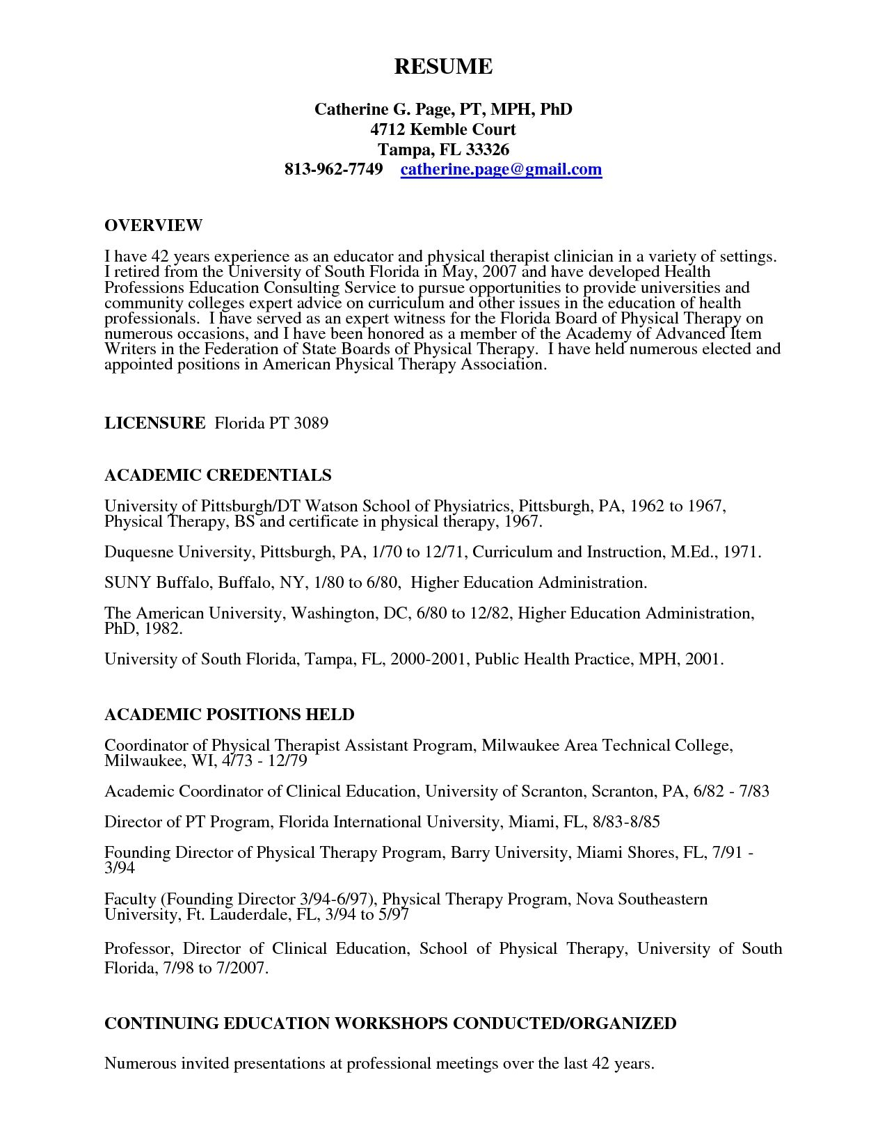 Physical Therapy Assistant Resume Student Template