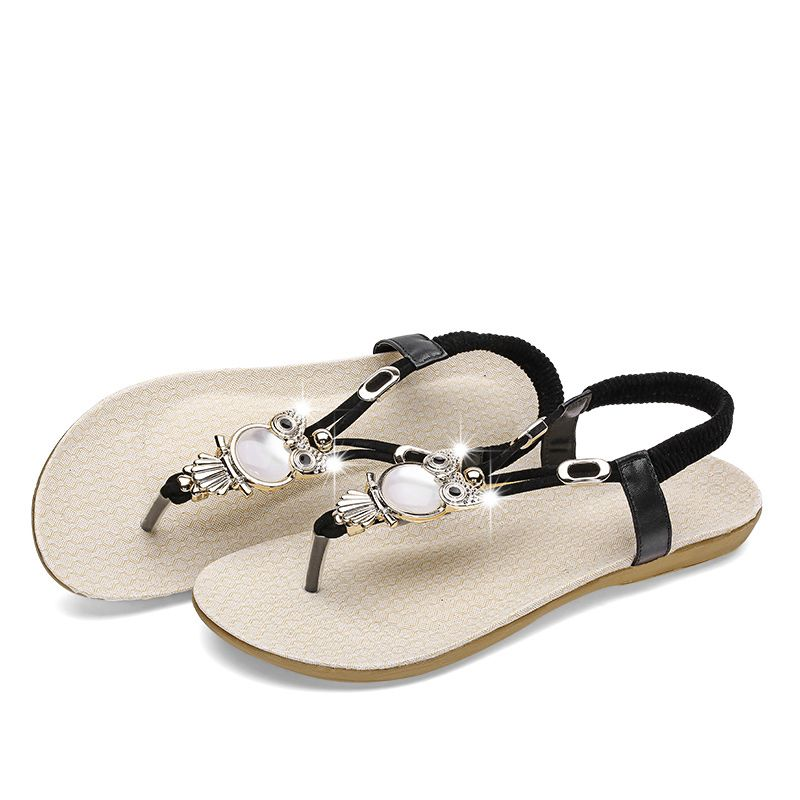 279f60f9363a5d 2018 Women Sandals Elastic T strap Bohemia Beaded Owl Slipper Women Flat  Sandals Flip flop summer Style women shoes  instashoes  newshoes   shoestagram ...