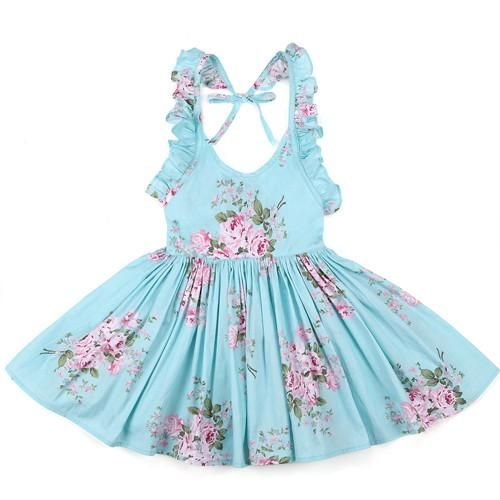 b91d8cad3f5 Vintage Floral Toddler girls Dress Ruffles sleeve Backless Blue pink  printed baby girls dress Boutique girls Clothes