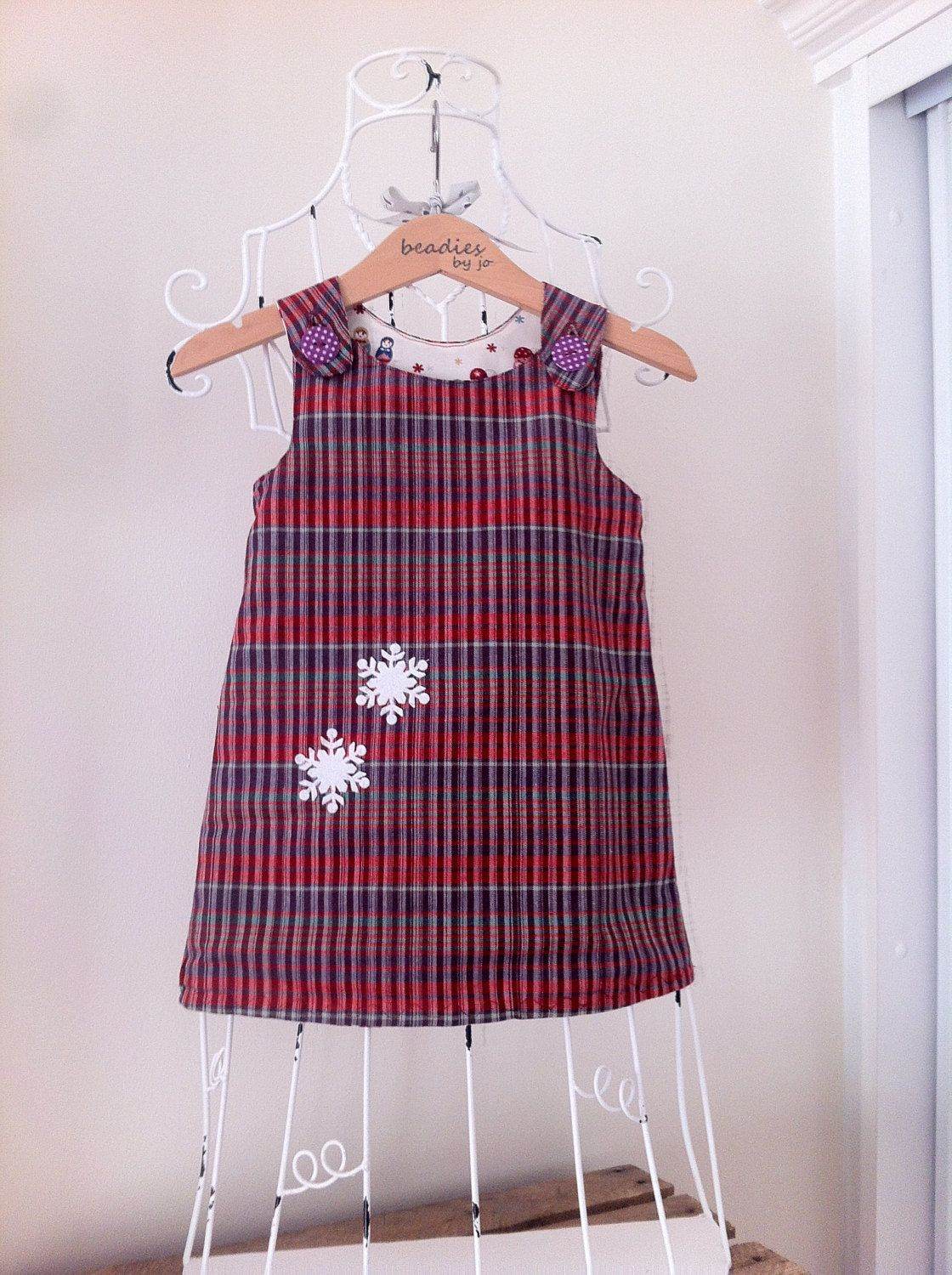 Reversible Dress, Christmas dress, Girls Dress, Pinafore, Shift ...