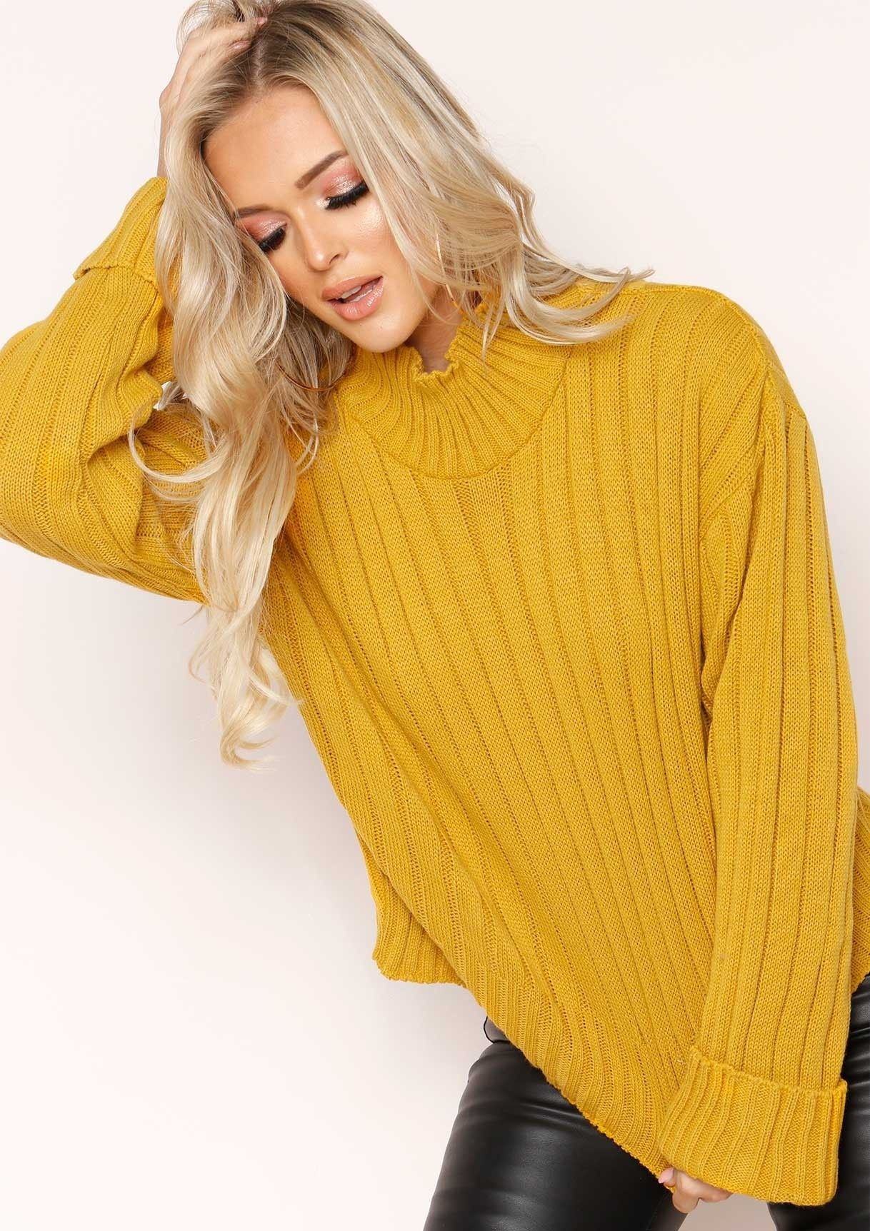 31988d0c0 Missyempire - Arlene Mustard Knit High Neck Jumper