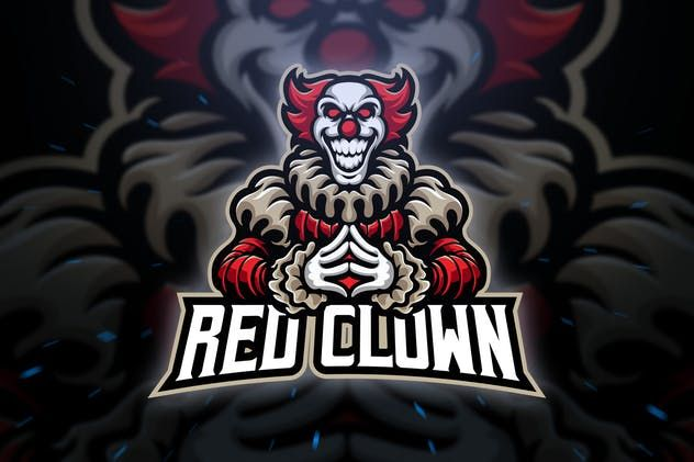 Red Clown Sport and Esport Logo Template by Blankids on Envato Elements