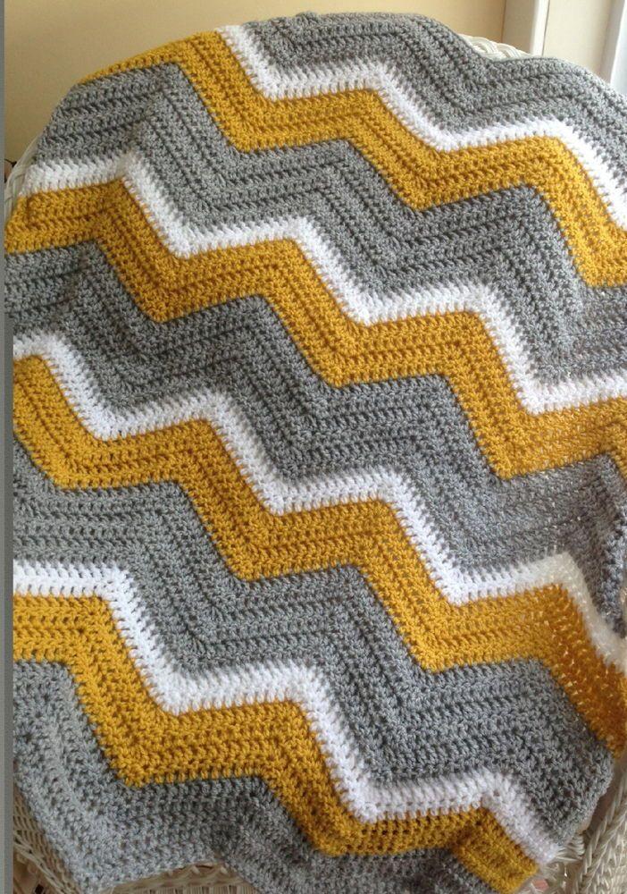 Crochet Knit Baby Blanket Afghan Chevron Ripple Handmade Vanna Gold Grey White Baby Blanket Crochet Crochet Blanket Grey Crochet Blanket