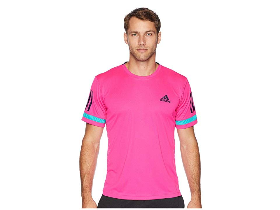a85b26b576 adidas Club 3-Stripes Tee (Shock Pink) Men's T Shirt. Your on-court  performance demands more from your gear. Step up your tennis kit with the  ...