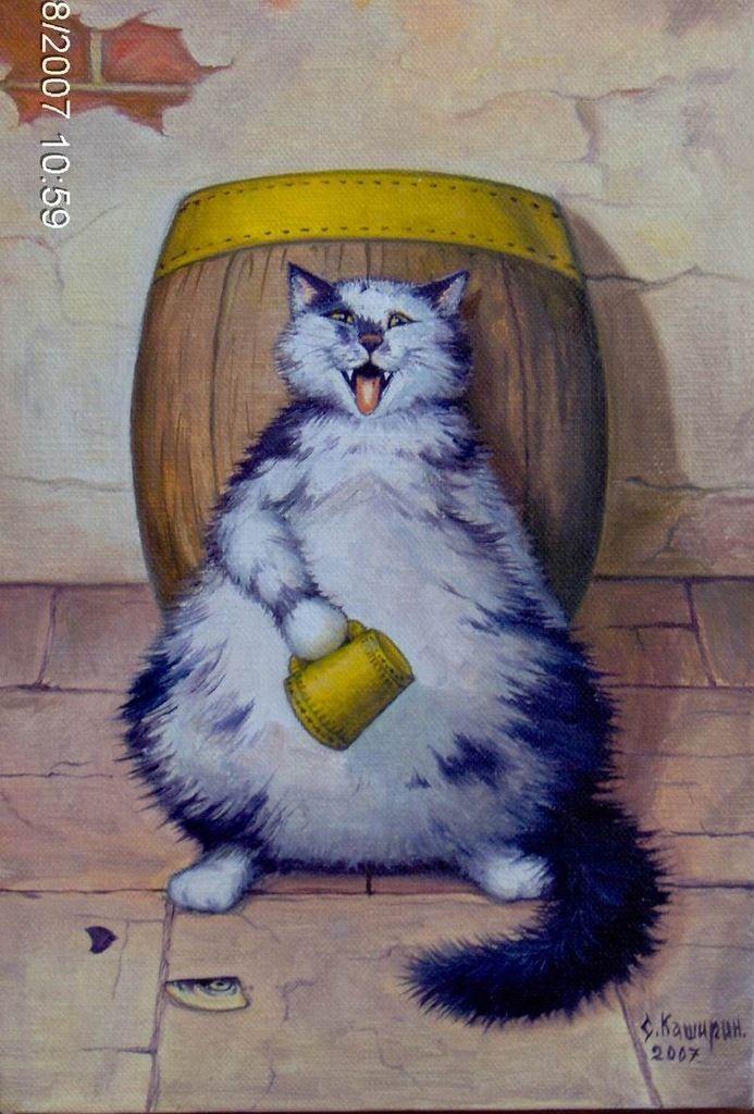 Картинка кот в бочке