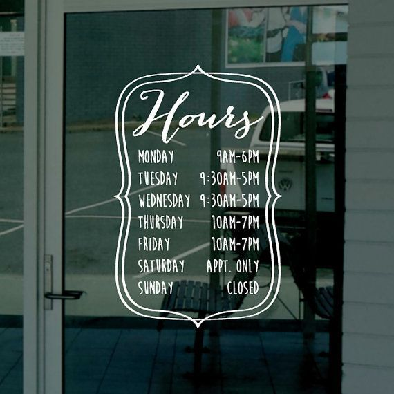 Image Result For Creative Coffee Shop Windows AWC Business Hours - Window stickers for business hours