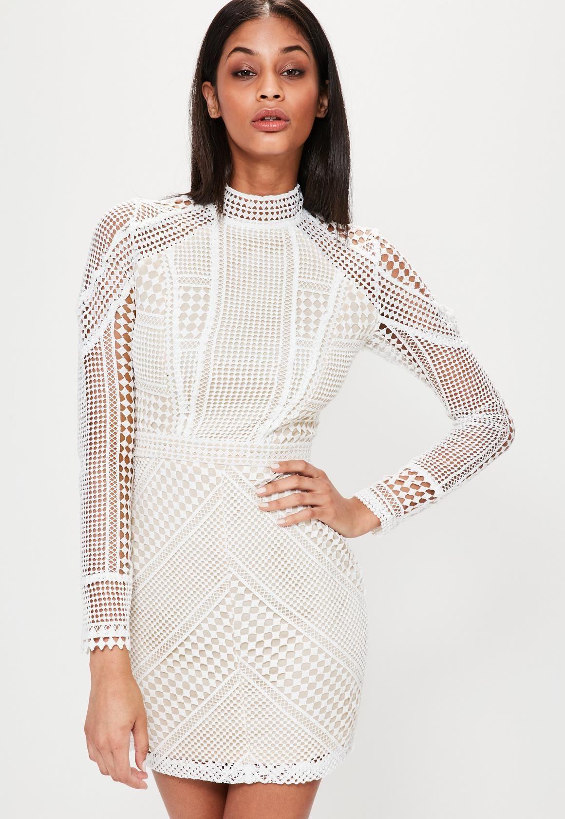fbabe627ec9d Premium Structured High Neck Lace Mini Dress White | Missguided