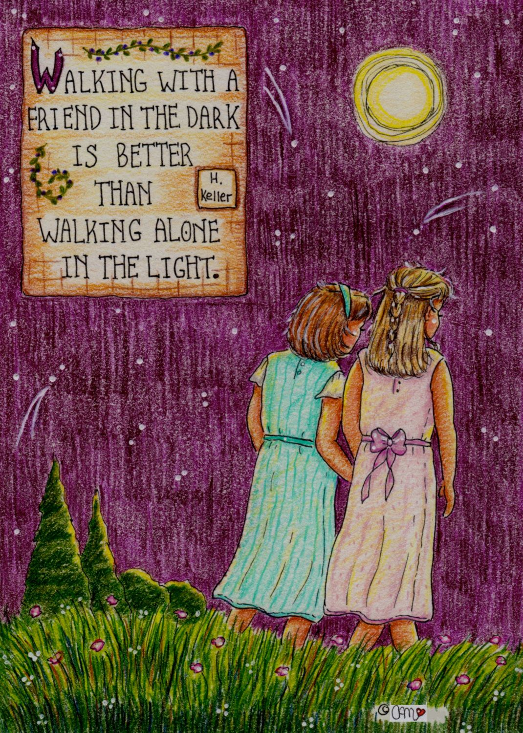 Girlfriends holding hands print with inspirational quote