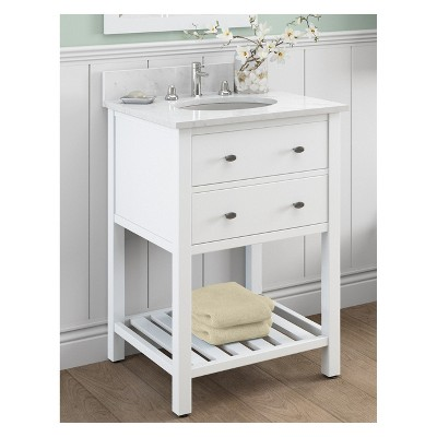 Harrison With White Marble Sink Top And Bath Storage Shelf And