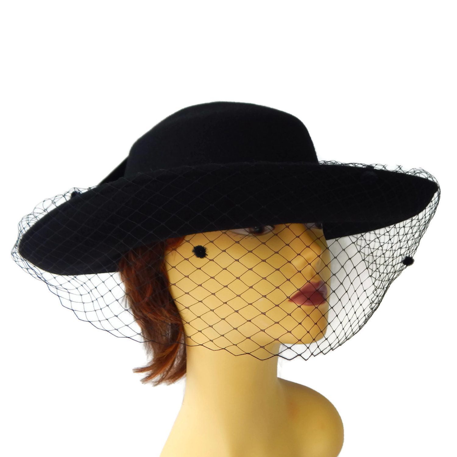 Wide Brim Hat Black with Netting and Big Bow Designer Michael Howard Wool Hat