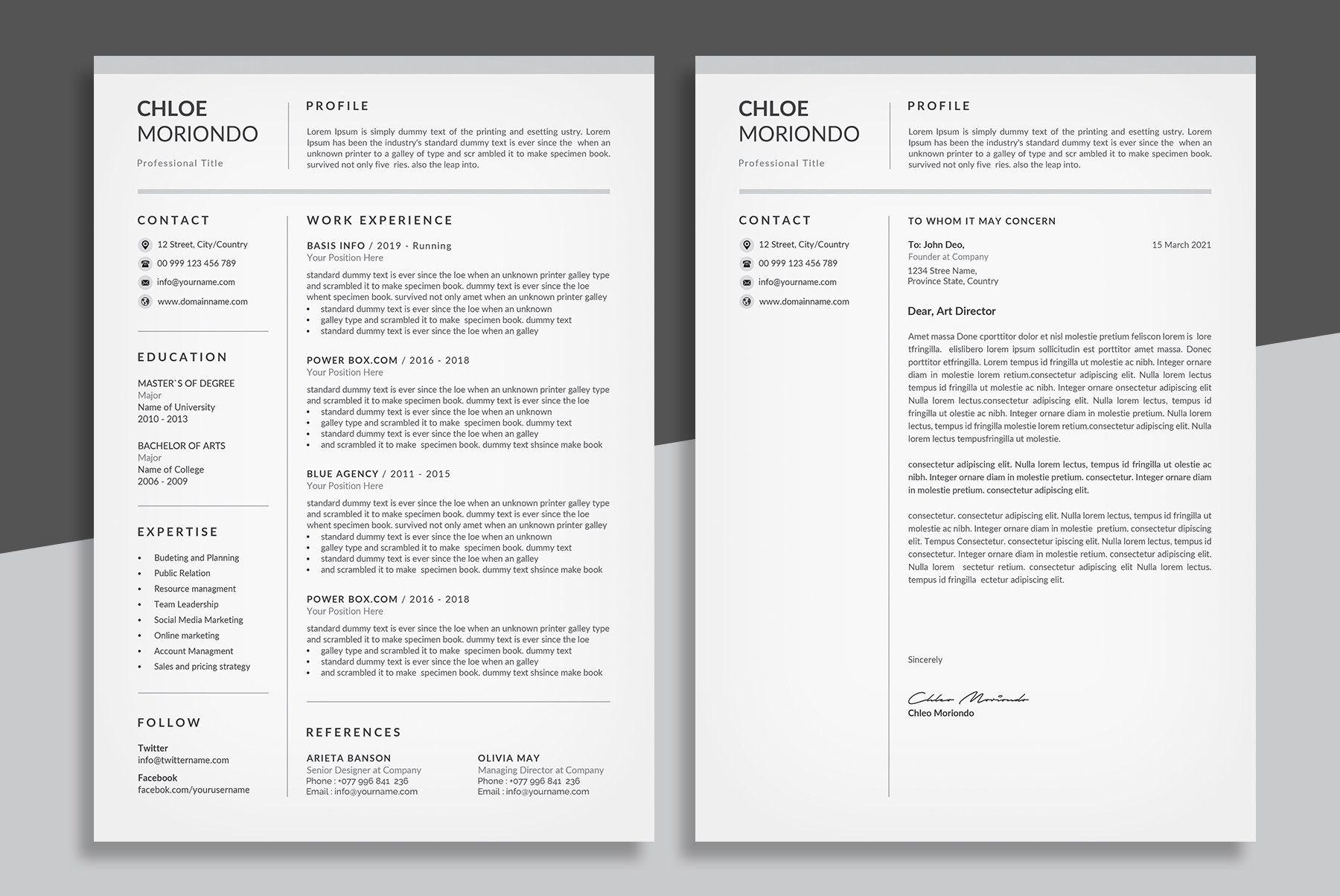 Word Resume & Cover Letter by Designs Bird on