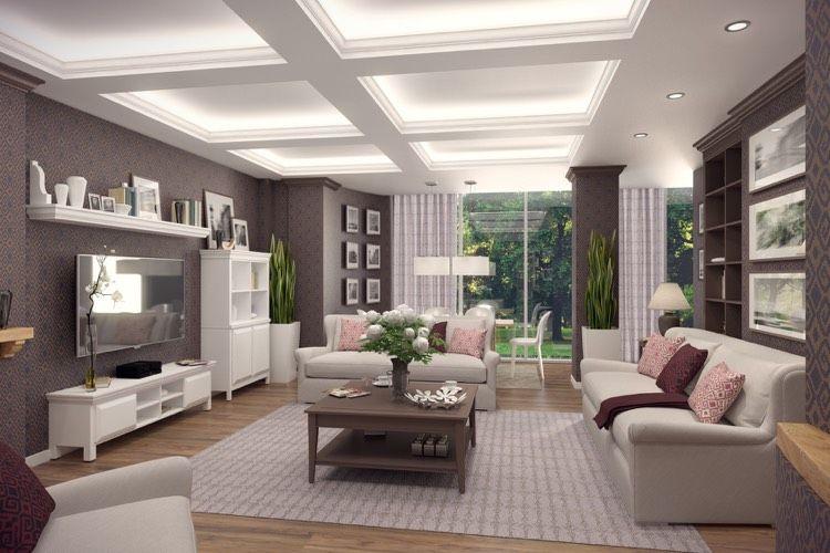 Landhausstil Wohnzimmer Modern Led Decke Leisten Einbau Spots