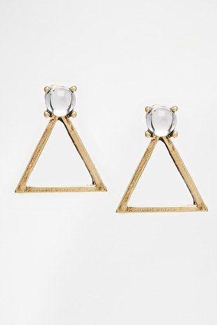 delicate + geometric triangle stone open earrings.