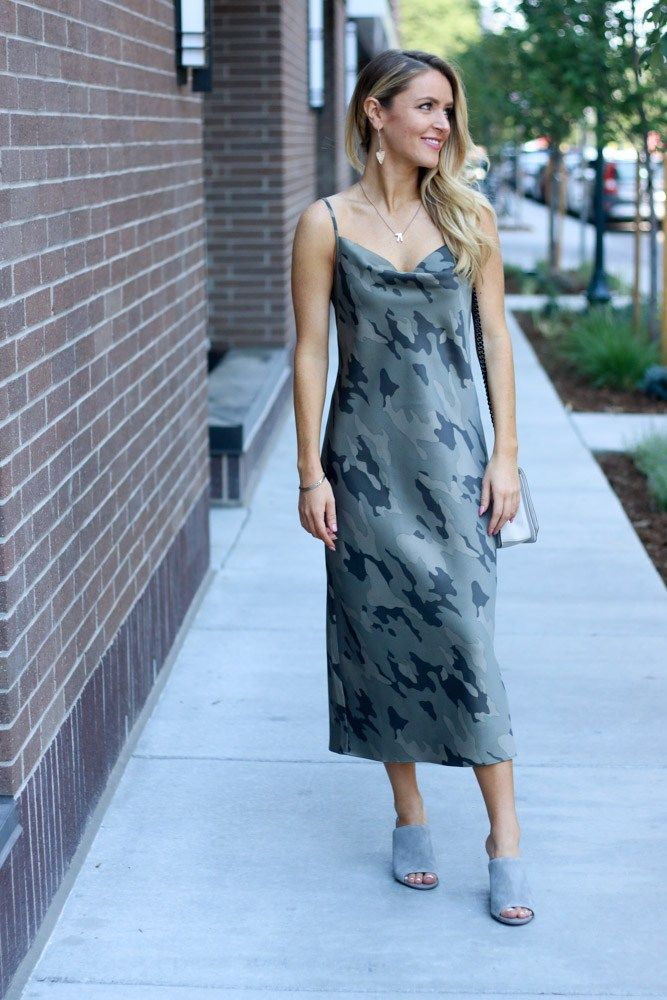 d63f0f9e38aa2 Sophisticated Summer With Banana Republic | Every Once in a Style |  Camouflage Dress//Camo Slip Dress//Neutral Bag//Dainty Jewelry//Grey  Mules//Gray Mule ...