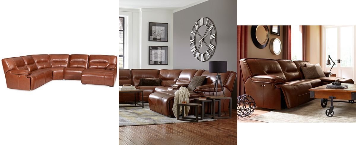 Beckett 5 Pc Leather Sectional Sofa With Chaise And 2 Power Recliners,  Created For Macyu0027s
