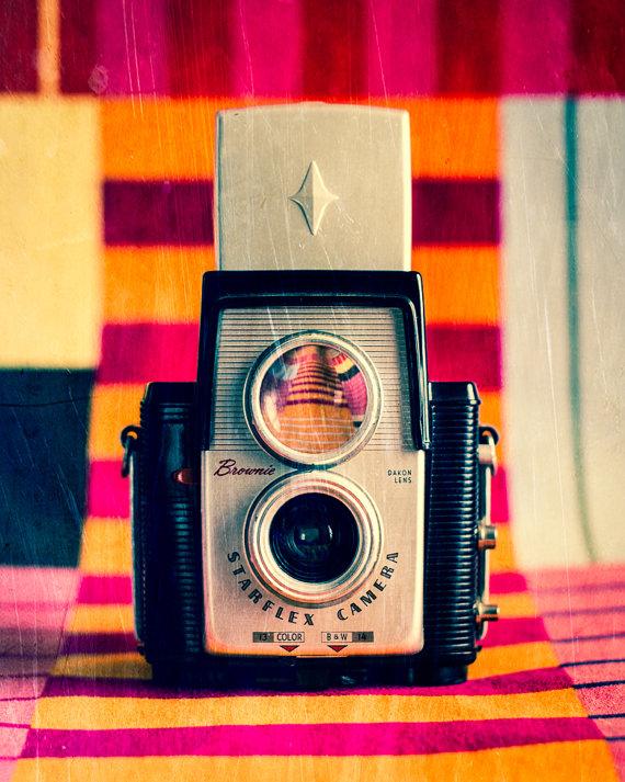 Vintage Camera Art, Kodak Brownie, Camera Photo - Color Still Life - Retro Camera - Film - 8 x 10 Print - Fine Art Photograph