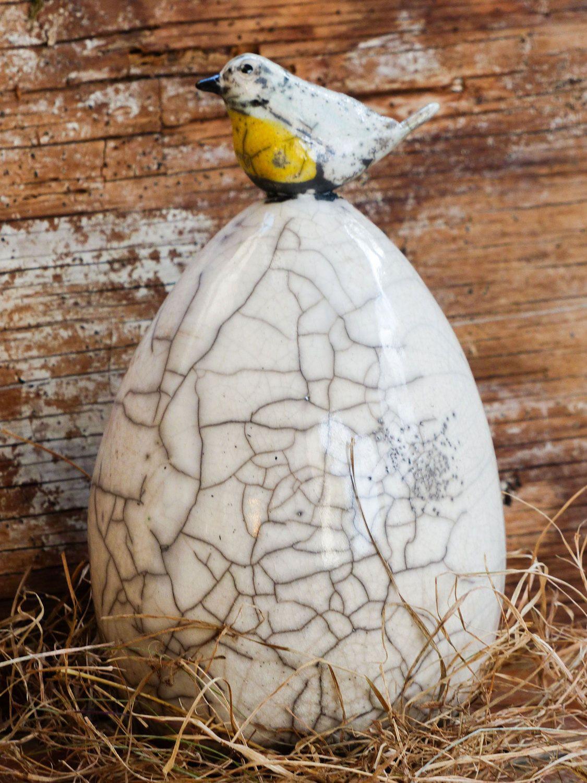 Uova Di Pasqua Ceramica.Uovo Di Pasqua In Ceramica Raku Bianco Con Cinciallegra Regalo Di