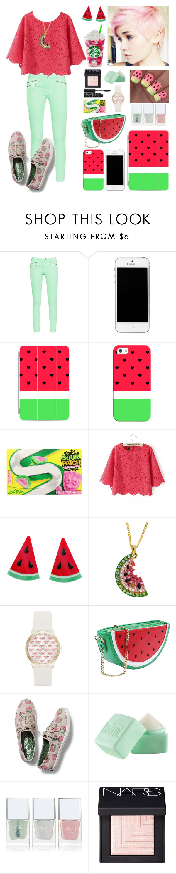 """watermelon"" by howlingwolf0-0 ❤ liked on Polyvore featuring French Connection, Casetify, Jessica Carlyle, Keds, Balmi, Nails Inc. and NARS Cosmetics"