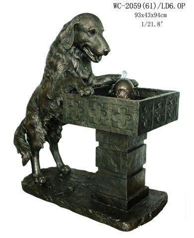 Garden Patio Outdoor Indoor Golden Retriever Dog Statue Water