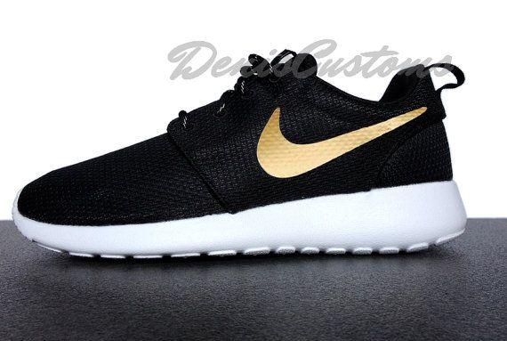 Nike Roshe Run One Black with Custom Gold Swoosh Paint