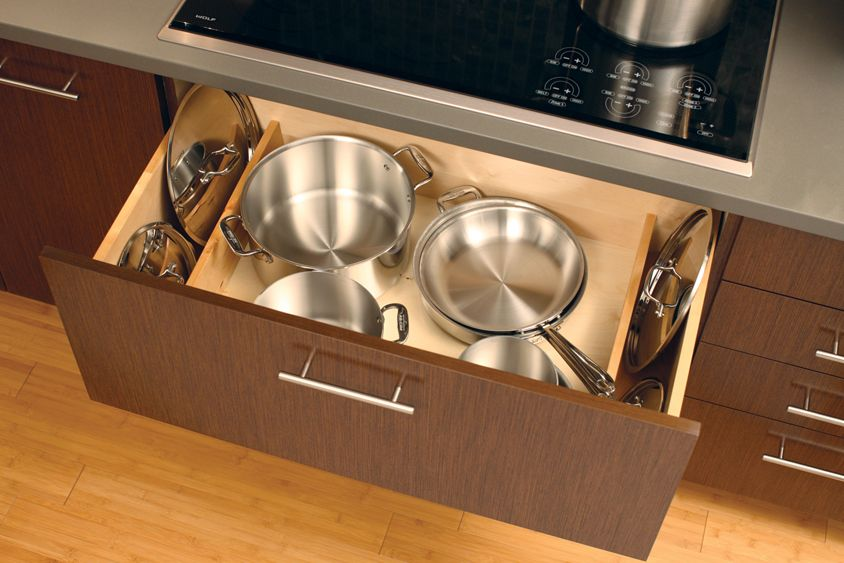 A Deep Drawer Below A Cooktop Is An Ideal Location For Pots And Pans Add The Lid Storage Dividers To Stand Pots And Pans Pan Storage Kitchen Organization