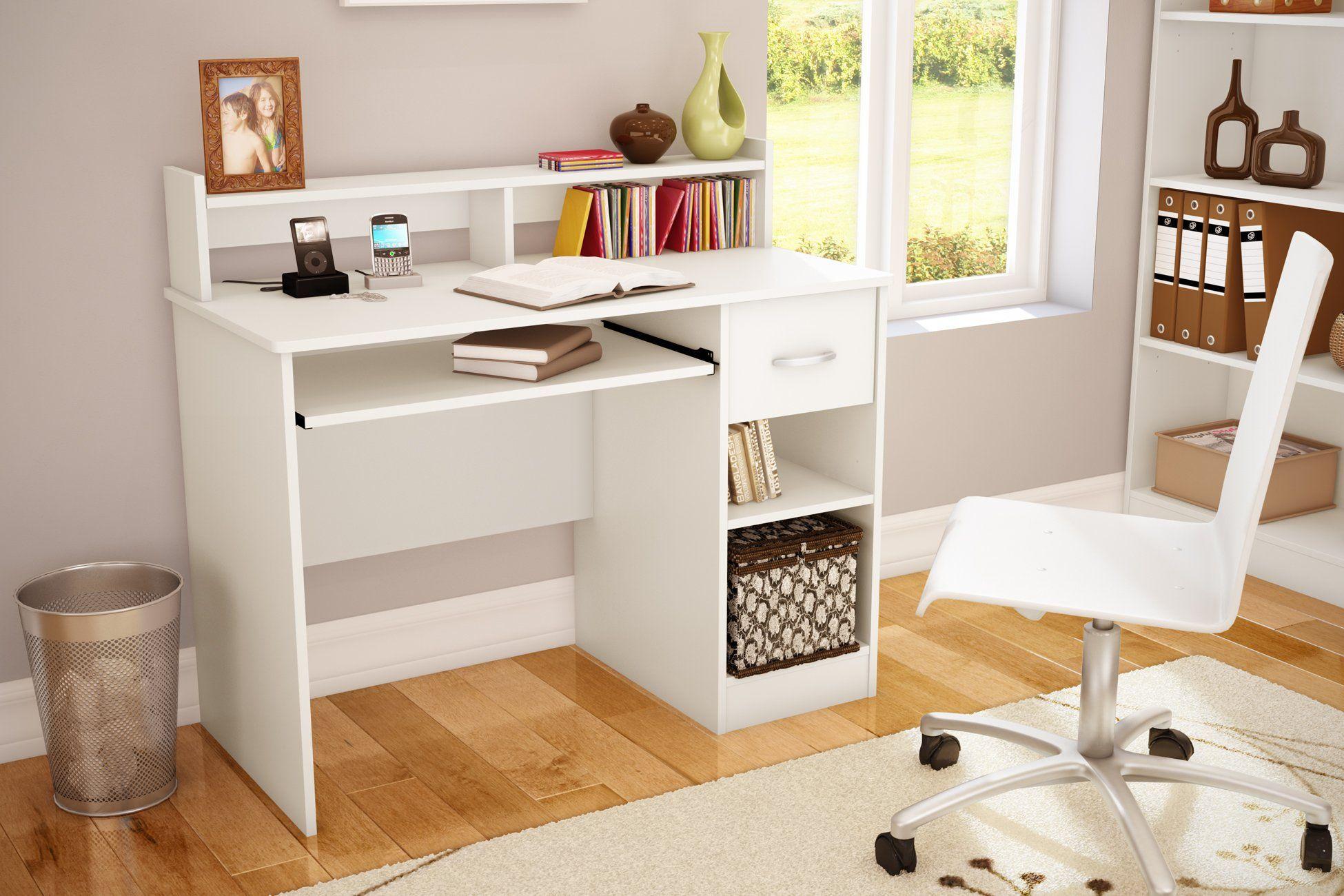 Amazon Com South Shore Axess Collection Desk Pure White Home Office Desks Desk Furniture Modern Computer Desk Home Office Computer Desk