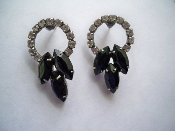 Vintage Pierced Black and Crystal Rhinestone by fyfchicenergy, $12.00