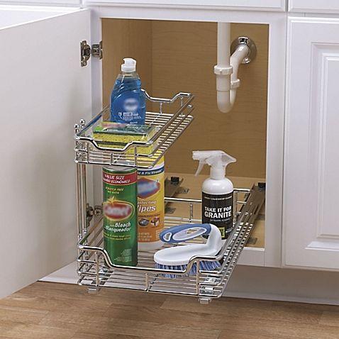 Household Essentials 174 2 Tier 12 5 Inch Glidez Sliding Under Sink Organizer Under Kitchen Sinks
