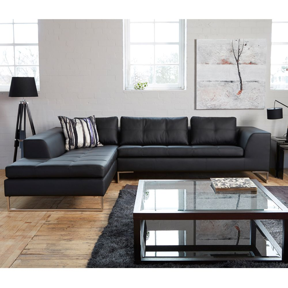 Vienna Leather Left Hand Corner Sofa Black Dwell