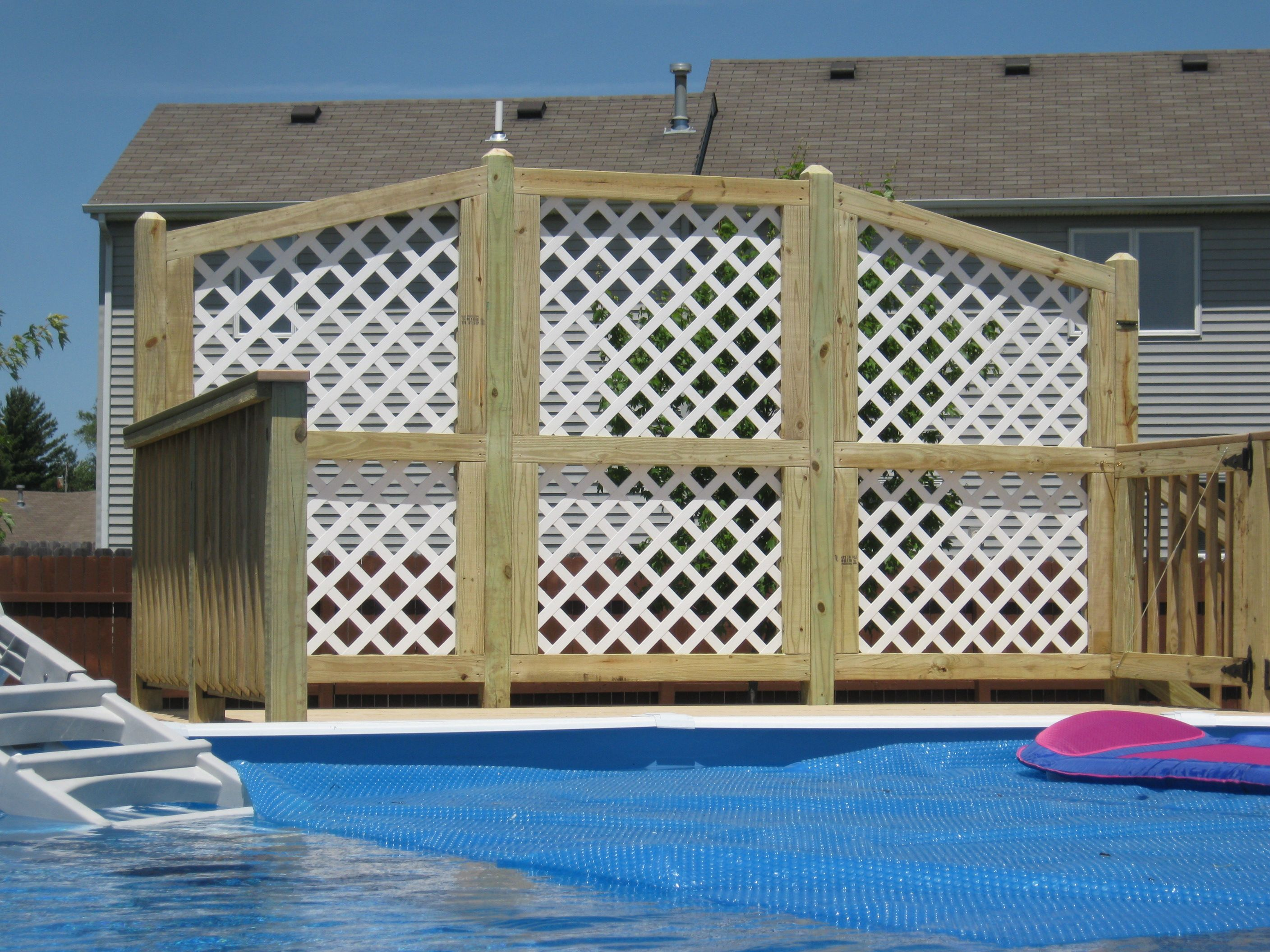 above ground pool landscape designs have archadeck of ft wayne build your pool deck - Above Ground Pool Privacy Deck