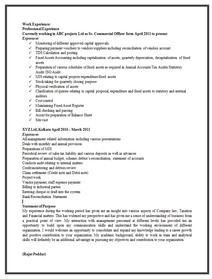 sample resume format for experienced 2 - Best Resume Format For Experienced Professionals