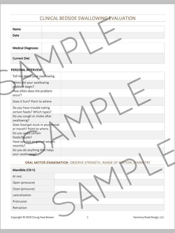 Virtual SLP Evaluation Forms, 6 Adult Eval Templates, PDF